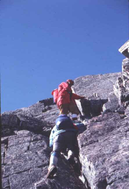 The expedition team ascends the Minaret Ridge, on approach to the summit.