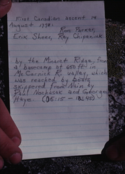 This note was left with the log book placed atop the summit.