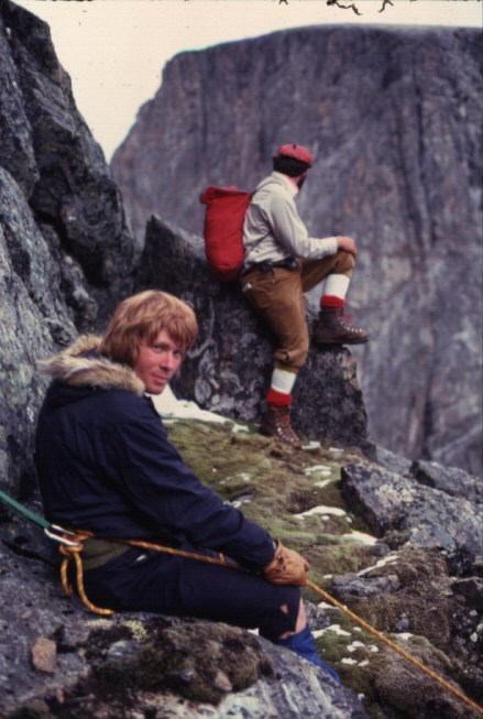 Erik Sheer (foreground) on the Selamiut Horn, after summiting Mount Caubvick.