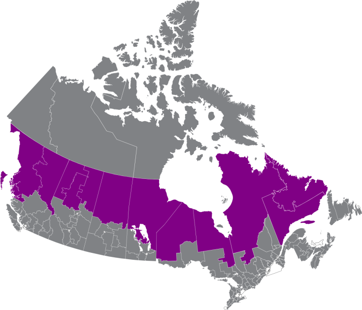 The twelve northernmost electoral districts in the provinces, including Labrador.  Adapted from an excellent map on Wikipedia by user DrRandomFactor, licensed through Creative Commons.